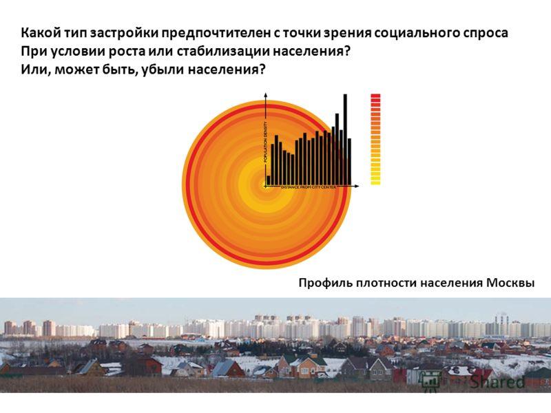 Какой тип застройки предпочтителен с точки зрения социального спроса При условии роста или стабилизации населения? Или, может быть, убыли населения? Профиль плотности населения Москвы