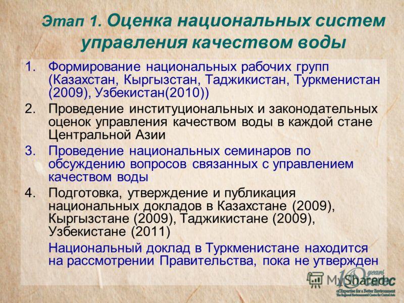 Этап 1. Оценка национальных систем управления качеством воды 1.Формирование национальных рабочих групп (Казахстан, Кыргызстан, Таджикистан, Туркменистан (2009), Узбекистан(2010)) 2.Проведение институциональных и законодательных оценок управления каче