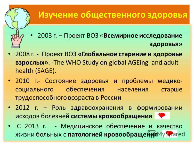 Изучение общественного здоровья 2003 г. – Проект ВОЗ «Всемирное исследование здоровья» 2008 г. - Проект ВОЗ «Глобальное старение и здоровье взрослых». -The WHO Study on global AGEing and adult health (SAGE). 2010 г.- Состояние здоровья и проблемы мед