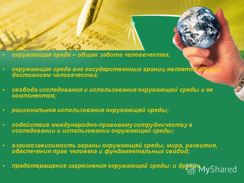 окружающая среда – общая забота человечества; окружающая среда вне государственных границ является общим достоянием человечества; свобода исследования и использования окружающей среды и ее компонентов; рациональное использование окружающей среды; сод