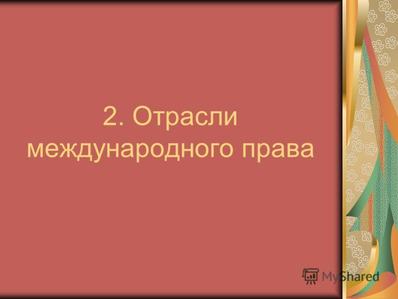 2. Отрасли международного права