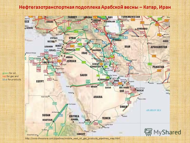 Нефтегазотранспортная подоплека Арабской весны – Катар, Иран http://www.theodora.com/pipelines/middle_east_oil_gas_products_pipelines_map.html green for oil, red for gas and blue for products