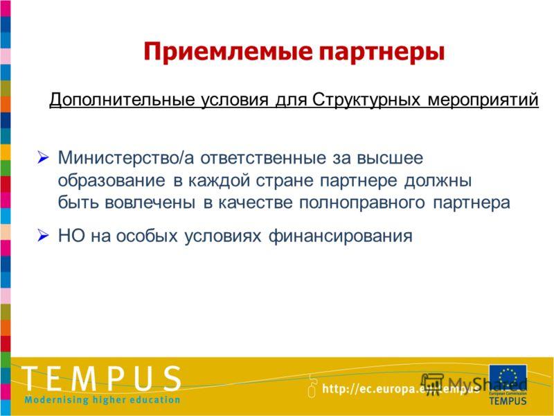 Приемлемые партнеры Дополнительные условия для Структурных мероприятий Министерство/а ответственные за высшее образование в каждой стране партнере должны быть вовлечены в качестве полноправного партнера НО на особых условиях финансирования
