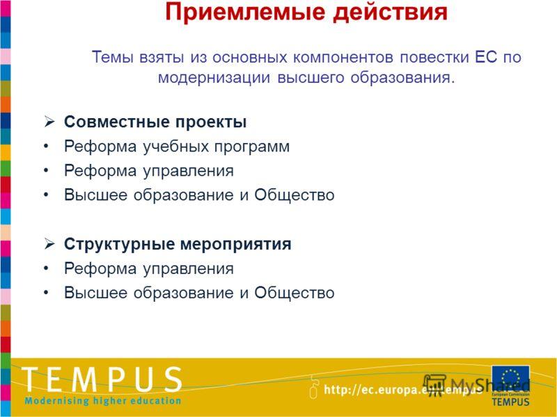 Приемлемые действия Темы взяты из основных компонентов повестки ЕС по модернизации высшего образования. Совместные проекты Реформа учебных программ Реформа управления Высшее образование и Общество Структурные мероприятия Реформа управления Высшее обр