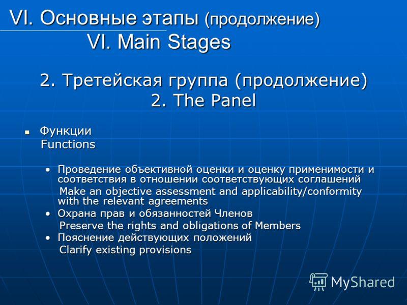 VI. Основные этапы (продолжение) VI. Main Stages VI. Основные этапы (продолжение) VI. Main Stages 2. Третейская группа (продолжение) 2. The Panel Функции Функции Functions Functions Проведение объективной оценки и оценку применимости и соответствия в