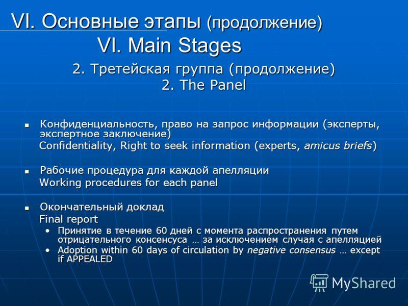 VI. Основные этапы (продолжение) VI. Main Stages 2. Третейская группа (продолжение) 2. The Panel Конфиденциальность, право на запрос информации (эксперты, экспертное заключение) Конфиденциальность, право на запрос информации (эксперты, экспертное зак