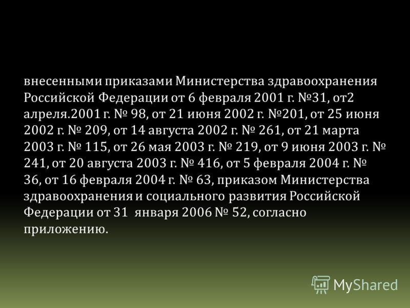 внесенными приказами Министерства здравоохранения Российской Федерации от 6 февраля 2001 г. 31, от2 алреля.2001 г. 98, от 21 июня 2002 г. 201, от 25 июня 2002 г. 209, от 14 августа 2002 г. 261, от 21 марта 2003 г. 115, от 26 мая 2003 г. 219, от 9 июн