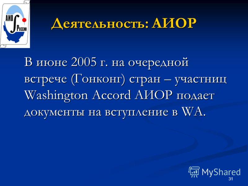 31 Деятельность: АИОР В июне 2005 г. на очередной встрече (Гонконг) стран – участниц Washington Accord АИОР подает документы на вступление в WA.