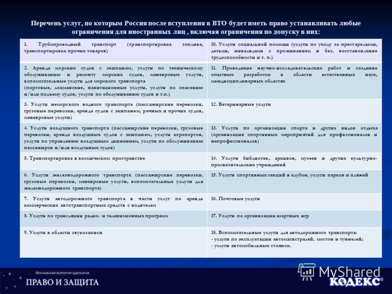 Перечень услуг, по которым Россия после вступления в ВТО будет иметь право устанавливать любые ограничения для иностранных лиц, включая ограничения по допуску в них: 1. Трубопроводный транспорт (транспортировка топлива, транспортировка прочих товаров