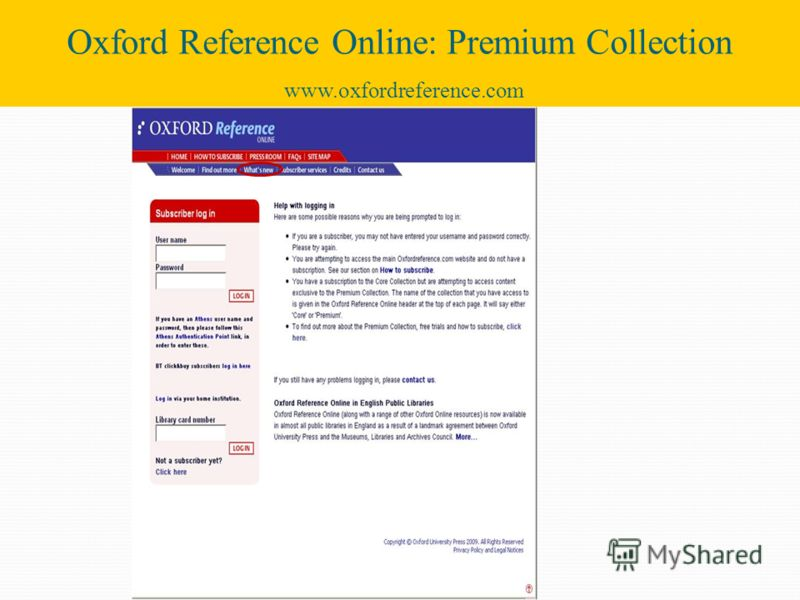 Oxford Reference Online: Premium Collection www.oxfordreference.com
