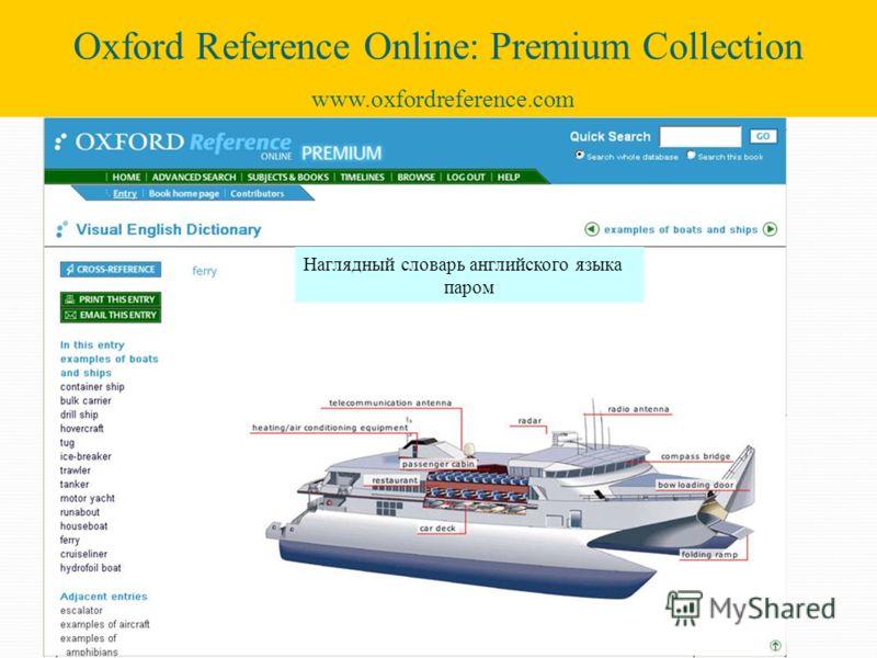 Наглядный словарь английского языка паром Oxford Reference Online: Premium Collection www.oxfordreference.com