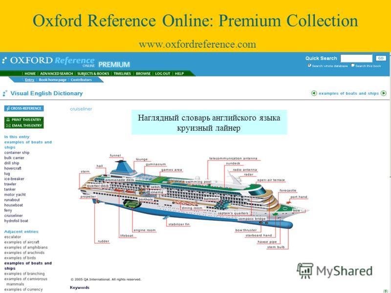 Наглядный словарь английского языка круизный лайнер Oxford Reference Online: Premium Collection www.oxfordreference.com