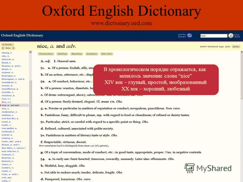 В хронологическом порядке отражается, как менялось значение слова nice XIV век – глупый, простой, необразованный XX век – хороший, любезный Oxford English Dictionary www.dictionary.oed.com