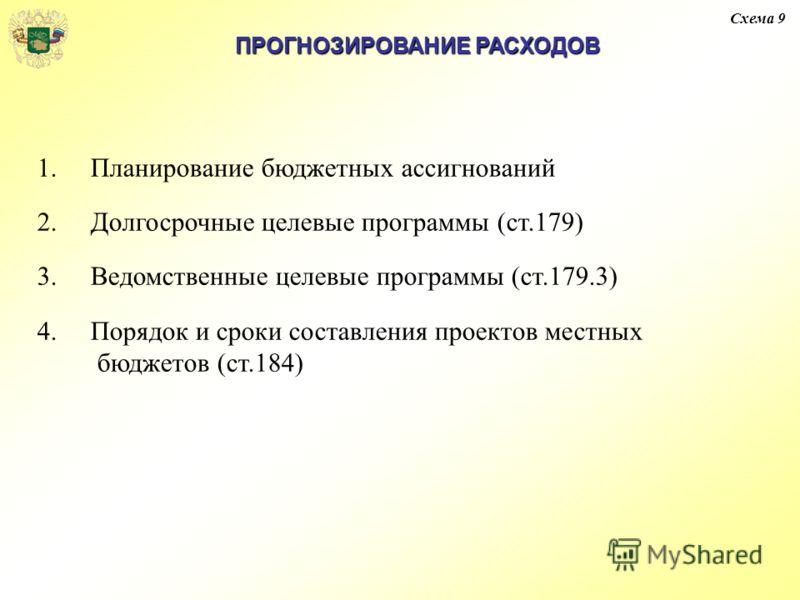 Схема 9 ПРОГНОЗИРОВАНИЕ РАСХОДОВ 1.Планирование бюджетных ассигнований 2.Долгосрочные целевые программы (ст.179) 3.Ведомственные целевые программы (ст.179.3) 4.Порядок и сроки составления проектов местных бюджетов (ст.184)