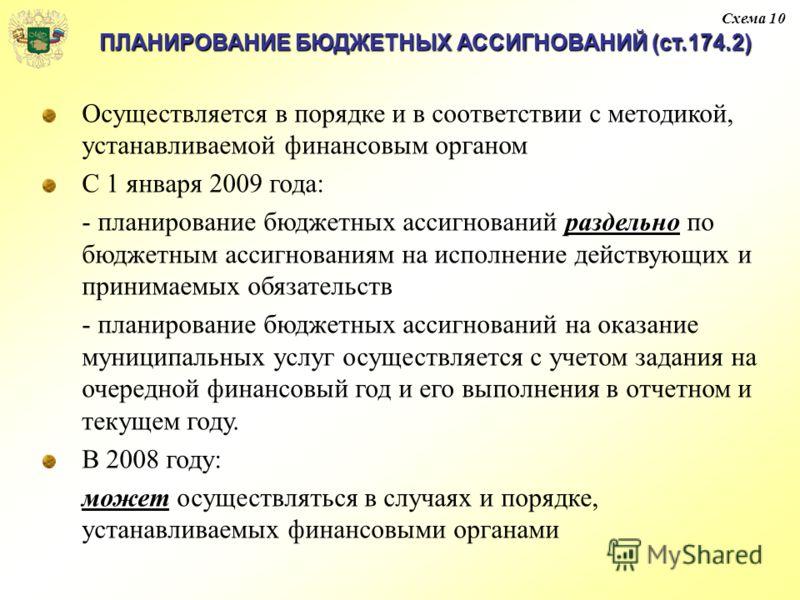ПЛАНИРОВАНИЕ БЮДЖЕТНЫХ АССИГНОВАНИЙ (ст.174.2) Осуществляется в порядке и в соответствии с методикой, устанавливаемой финансовым органом С 1 января 2009 года: - планирование бюджетных ассигнований раздельно по бюджетным ассигнованиям на исполнение де
