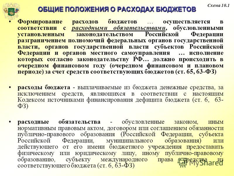 ОБЩИЕ ПОЛОЖЕНИЯ О РАСХОДАХ БЮДЖЕТОВ Формирование расходов бюджетов … осуществляется в соответствии с расходными обязательствами, обусловленными установленным законодательством Российской Федерации разграничением полномочий федеральных органов государ