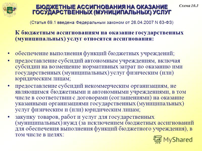 БЮДЖЕТНЫЕ АССИГНОВАНИЯ НА ОКАЗАНИЕ ГОСУДАРСТВЕННЫХ (МУНИЦИПАЛЬНЫХ) УСЛУГ БЮДЖЕТНЫЕ АССИГНОВАНИЯ НА ОКАЗАНИЕ ГОСУДАРСТВЕННЫХ (МУНИЦИПАЛЬНЫХ) УСЛУГ (Статья 69.1 введена Федеральным законом от 26.04.2007 N 63-ФЗ) К бюджетным ассигнованиям на оказание го