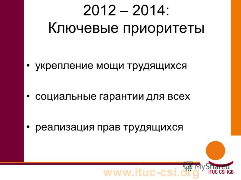 www.ituc-csi.org 2012 – 2014: Ключевые приоритеты укрепление мощи трудящихся социальные гарантии для всех реализация прав трудящихся
