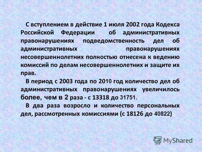 С вступлением в действие 1 июля 2002 года Кодекса Российской Федерации об административных правонарушениях подведомственность дел об административных правонарушениях несовершеннолетних полностью отнесена к ведению комиссий по делам несовершеннолетних