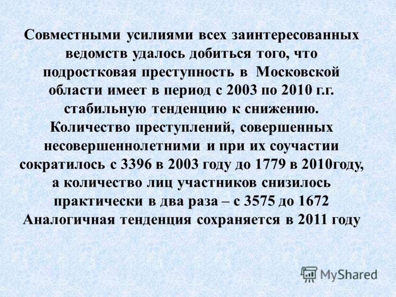 Совместными усилиями всех заинтересованных ведомств удалось добиться того, что подростковая преступность в Московской области имеет в период с 2003 по 2010 г.г. стабильную тенденцию к снижению. Количество преступлений, совершенных несовершеннолетними