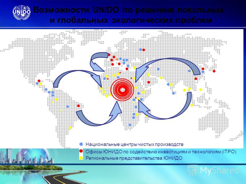 Национальные центры чистых производств Офисы ЮНИДО по содействию инвестициям и технологиям (ITPO) Региональные представительства ЮНИДО Возможности UNIDO по решению локальных и глобальных экологических проблем