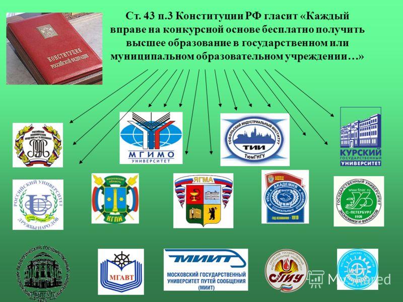 Ст. 43 п.3 Конституции РФ гласит «Каждый вправе на конкурсной основе бесплатно получить высшее образование в государственном или муниципальном образовательном учреждении…»