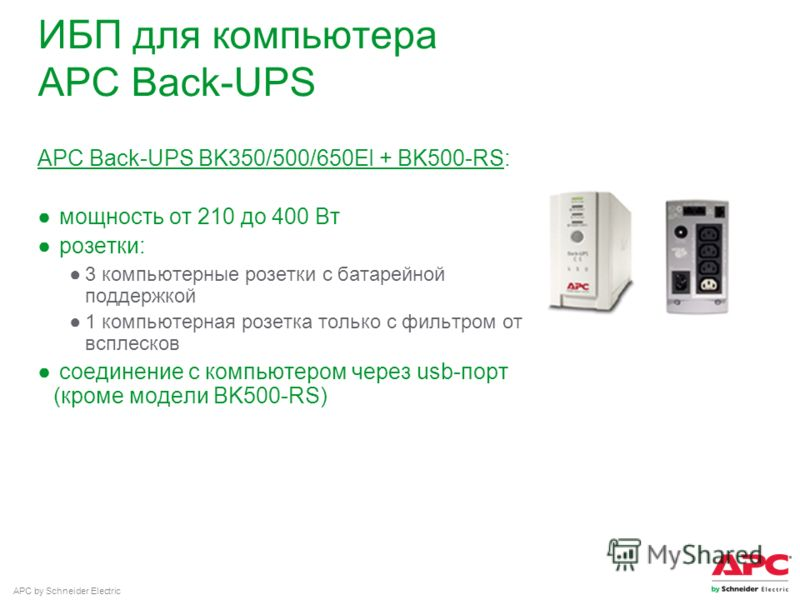 APC by Schneider Electric ИБП для компьютера APC Back-UPS APC Back-UPS BK350/500/650EI + BK500-RS: мощность от 210 до 400 Вт розетки: 3 компьютерные розетки с батарейной поддержкой 1 компьютерная розетка только с фильтром от всплесков соединение с ко