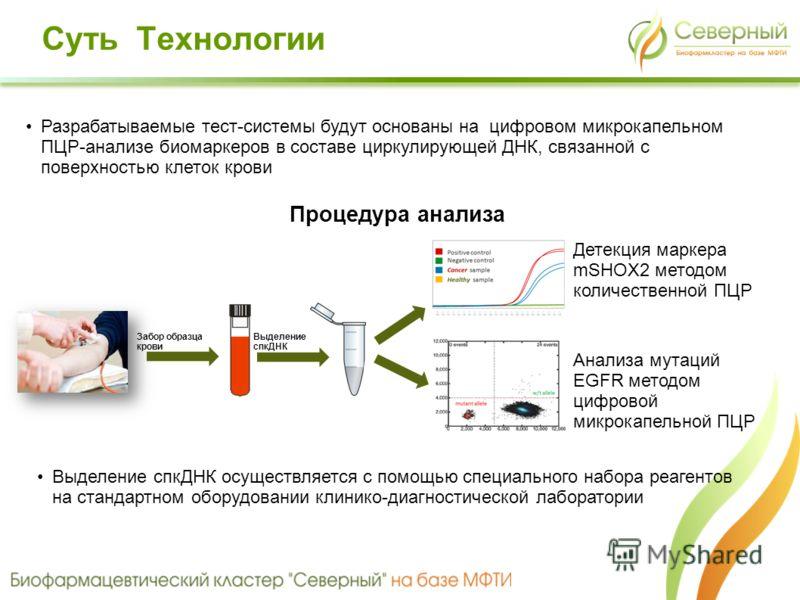 Забор образца крови Выделение спкДНК Анализа мутаций EGFR методом цифровой микрокапельной ПЦР Детекция маркера mSHOX2 методом количественной ПЦР Разрабатываемые тест-системы будут основаны на цифровом микрокапельном ПЦР-анализе биомаркеров в составе