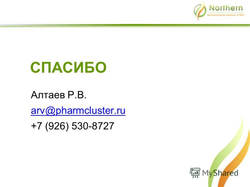СПАСИБО Алтаев Р.В. arv@pharmcluster.ru +7 (926) 530-8727