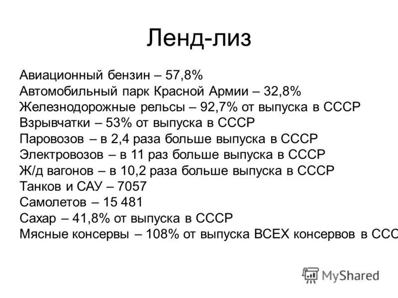 Ленд-лиз Авиационный бензин – 57,8% Автомобильный парк Красной Армии – 32,8% Железнодорожные рельсы – 92,7% от выпуска в СССР Взрывчатки – 53% от выпуска в СССР Паровозов – в 2,4 раза больше выпуска в СССР Электровозов – в 11 раз больше выпуска в ССС