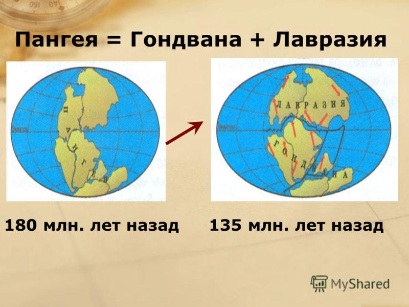 Пангея = Гондвана + Лавразия 180 млн. лет назад135 млн. лет назад