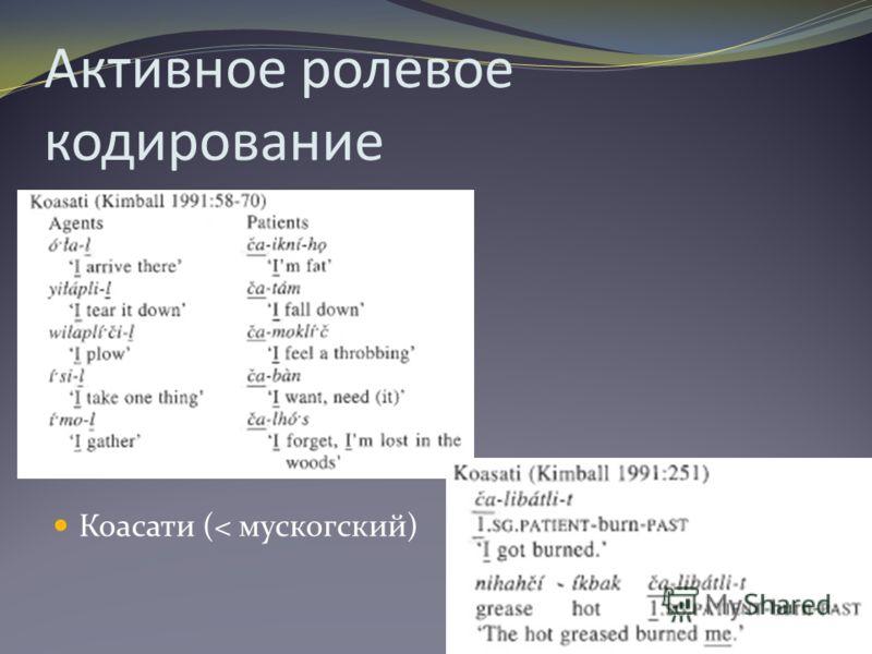 Активное ролевое кодирование Коасати (< мускогский) 6