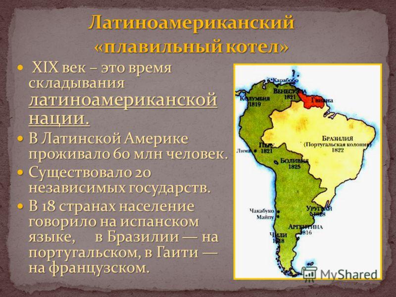 XIX век – это время складывания латиноамериканской нации. В Латинской Америке проживало 60 млн человек. В Латинской Америке проживало 60 млн человек. Существовало 20 независимых государств. Существовало 20 независимых государств. В 18 странах населен