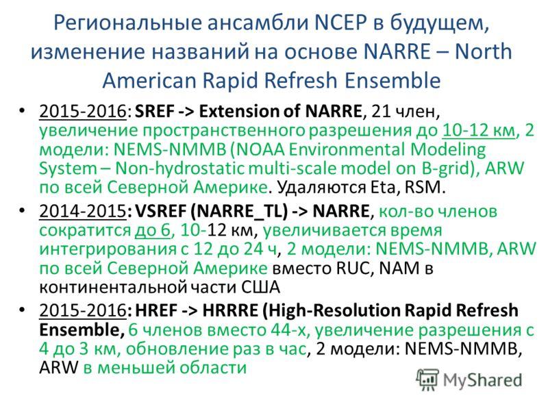 Региональные ансамбли NCEP в будущем, изменение названий на основе NARRE – North American Rapid Refresh Ensemble 2015-2016: SREF -> Extension of NARRE, 21 член, увеличение пространственного разрешения до 10-12 км, 2 модели: NEMS-NMMB (NOAA Environmen