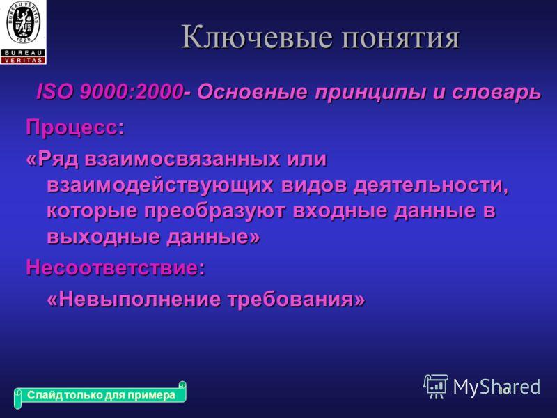 9 Ключевые понятия ISO 9000:2000- Основные принципы и словарь Система Менеджмента Качества ( СМК ): «Система руководства, предназначенная для того, чтобы нацелить организацию и управлять ею в отношении качества» Система Менеджмента: «Система, предназ