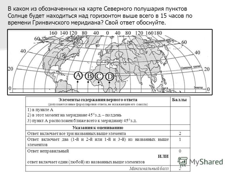 В каком из обозначенных на карте Северного полушария пунктов Солнце будет находиться над горизонтом выше всего в 15 часов по времени Гринвичского меридиана? Свой ответ обоснуйте. Элементы содержания верного ответа (допускаются иные формулировки ответ