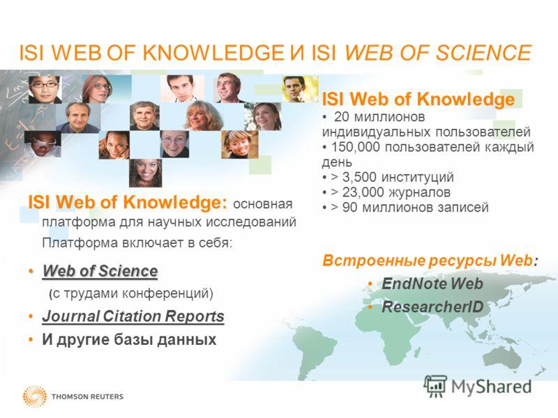 ISI Web of Knowledge: основная платформа для научных исследований Платформа включает в себя: Web of ScienceWeb of Science ( с трудами конференций) Journal Citation Reports И другие базы данных Встроенные ресурсы Web: EndNote Web ResearcherID ISI Web
