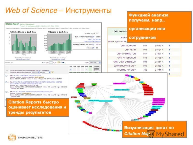 Функцией анализа получаем, напр., организации или сотрудников Web of Science – Инструменты Citation Reports быстро оценивает исследования и тренды результатов Визуализация цитат по Citation Map