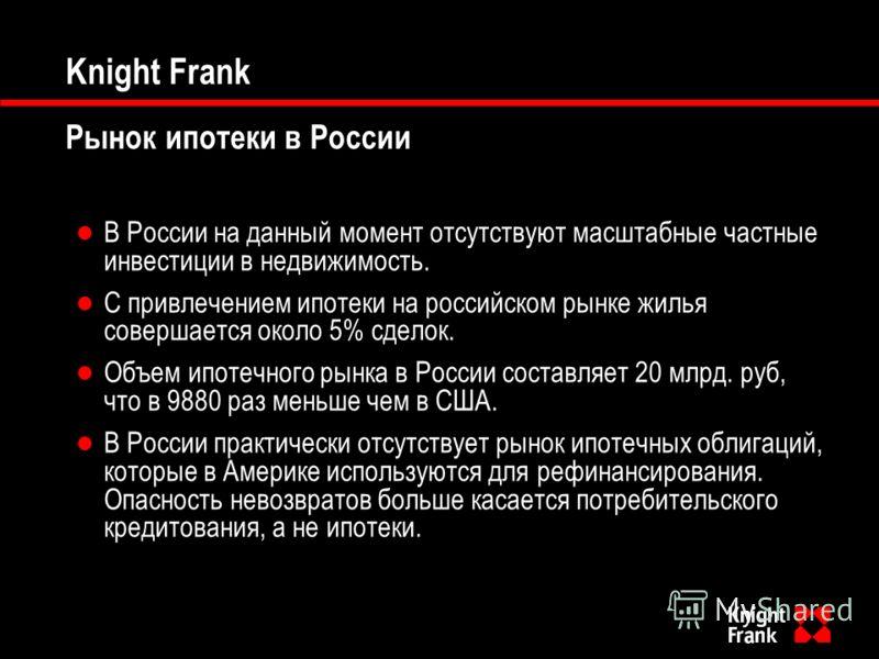 Knight Frank Рынок ипотеки в России В России на данный момент отсутствуют масштабные частные инвестиции в недвижимость. С привлечением ипотеки на российском рынке жилья совершается около 5% сделок. Объем ипотечного рынка в России составляет 20 млрд.