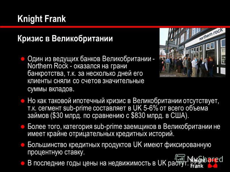 Knight Frank Кризис в Великобритании Один из ведущих банков Великобритании - Northern Rock - оказался на грани банкротства, т.к. за несколько дней его клиенты сняли со счетов значительные суммы вкладов. Но как таковой ипотечный кризис в Великобритани