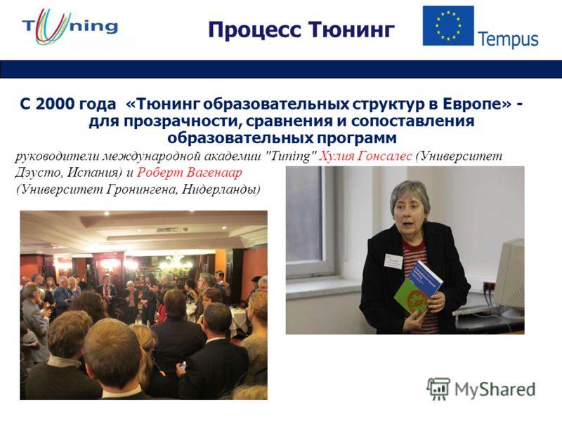 Процесс Тюнинг С 2000 года «Тюнинг образовательных структур в Европе» - для прозрачности, сравнения и сопоставления образовательных программ руководители международной академии