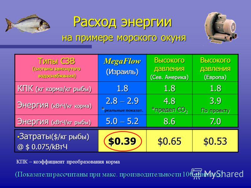 Расход энергии на примере морского окуня на примере морского окуня (Показатели рассчитаны при макс. производительности 100 тонн/год) Типы СЗВ (системы замкнутого водоснабжения) водоснабжения)MegaFlow (Израиль) Высокого давления (Сев. Америка) Высоког