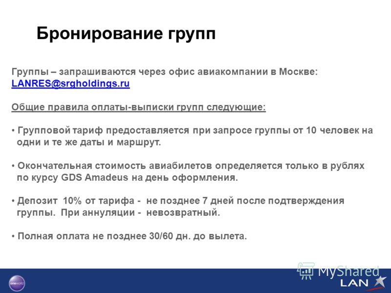Бронирование групп Группы – запрашиваются через офис авиакомпании в Москве: LANRES@srgholdings.ru LANRES@srgholdings.ru Общие правила оплаты-выписки групп следующие: Групповой тариф предоставляется при запросе группы от 10 человек на одни и те же дат
