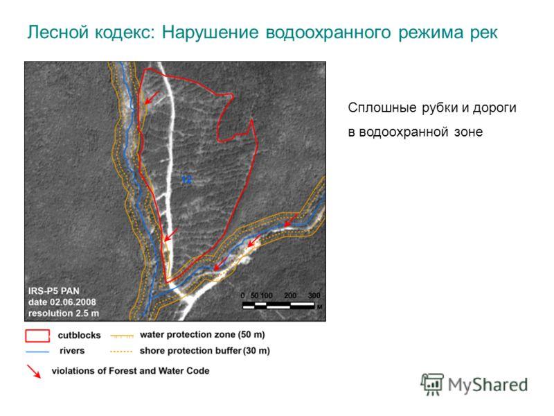 Лесной кодекс: Нарушение водоохранного режима рек Сплошные рубки и дороги в водоохранной зоне