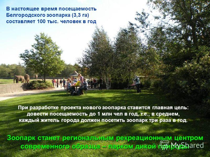 В настоящее время посещаемость Белгородского зоопарка (3,3 га) составляет 100 тыс. человек в год При разработке проекта нового зоопарка ставится главная цель: довести посещаемость до 1 млн чел в год, т.е., в среднем, каждый житель города должен посет