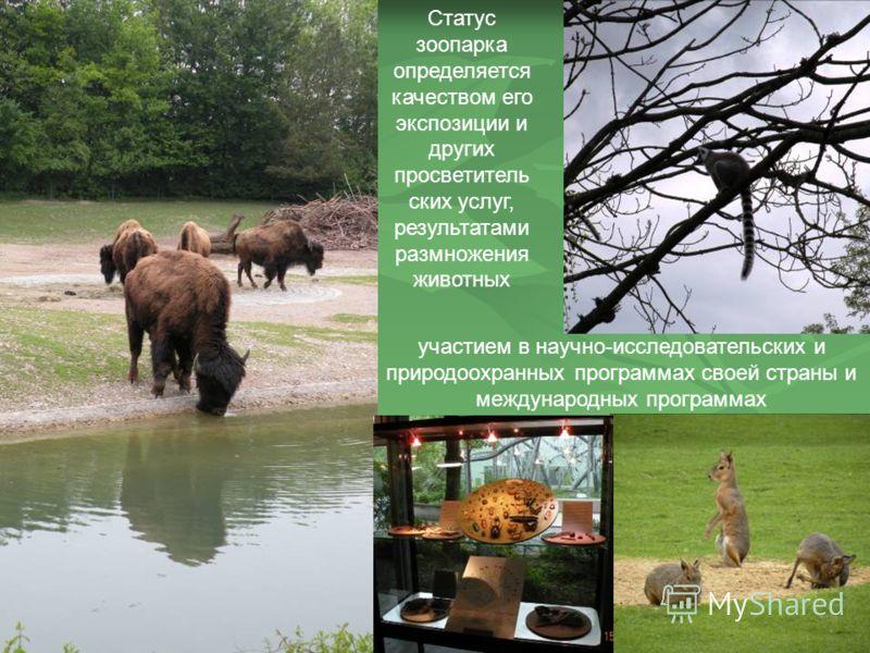 Статус зоопарка определяется качеством его экспозиции и других просветитель ских услуг, результатами размножения животных участием в научно-исследовательских и природоохранных программах своей страны и международных программах