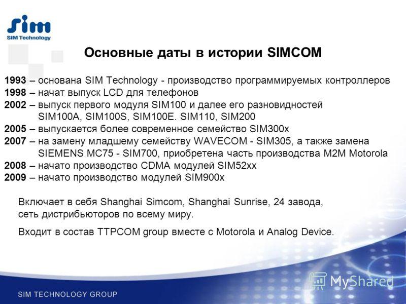 Основные даты в истории SIMCOM 1993 – основана SIM Technology - производство программируемых контроллеров 1998 – начат выпуск LCD для телефонов 2002 – выпуск первого модуля SIM100 и далее его разновидностей SIM100A, SIM100S, SIM100E. SIM110, SIM200 2