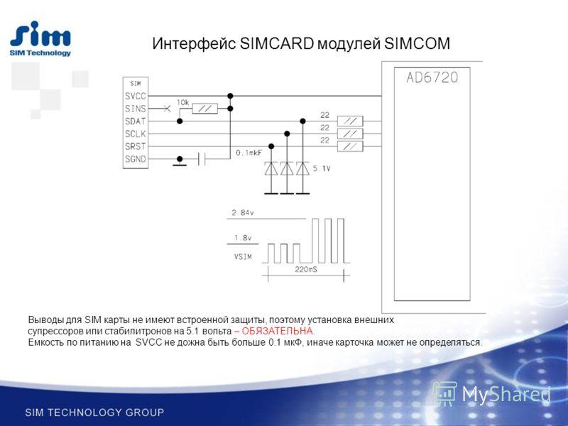 Интерфейс SIMCARD модулей SIMCOM Выводы для SIM карты не имеют встроенной защиты, поэтому установка внешних супрессоров или стабилитронов на 5.1 вольта – ОБЯЗАТЕЛЬНА. Емкость по питанию на SVCC не дожна быть больше 0.1 мкФ, иначе карточка может не оп
