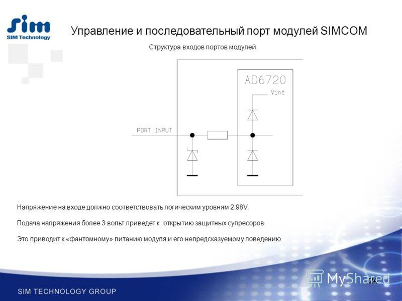 24 Управление и последовательный порт модулей SIMCOM Напряжение на входе должно соответствовать логическим уровням 2.98V. Подача напряжения более 3 вольт приведет к открытию защитных супресоров. Это приводит к «фантомному» питанию модуля и его непред
