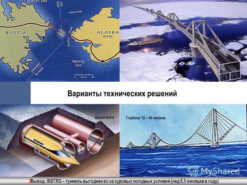 Варианты технических решений Диаметр 9 м Глубина 12 – 40 метров Вывод IBSTRG – туннель выгоднее из-за суровых погодных условий (лед 8,5 месяцев в году)
